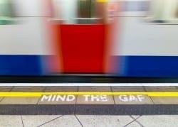 Mind the gap warning on the London underground
