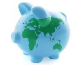Piggy bank that looks like the world.