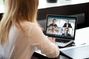 Business Zoom call. Will flexible working effect the housing market?